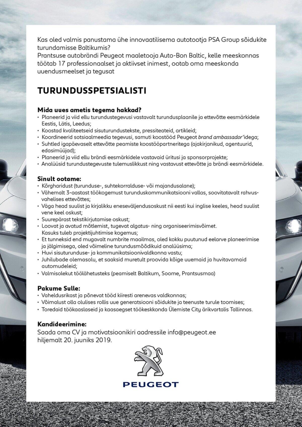 8c3fafb70d1 Auto-Bon Baltic otsib turundusspetsialisti