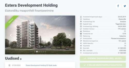Laenudest punnis kinnisvaraprojekt läks Crowdestate'i investoritele maksma pea miljoni